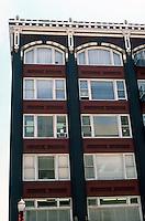 Portland: Roofline, Pioneer Building, 1910. SW Stark between SW 3 & SW 4. Home of Huber's Restaurant.  Photo '86.
