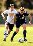 2 September 2007: University of Vermont Catamounts' Carson Laderoute (12), a Sophomore from Rutland, VT, in action against the George Washington University Colonials' Jillian Morgan (15), a Freshman from Douglassville, PA, at Historic Centennial Field in Burlington, Vermont. The Colonials rallied to defeat the Catamounts 2-1 in overtime during the TD Banknorth Soccer Classic...Mandatory Photo Credit: Ed Wolfstein Photo