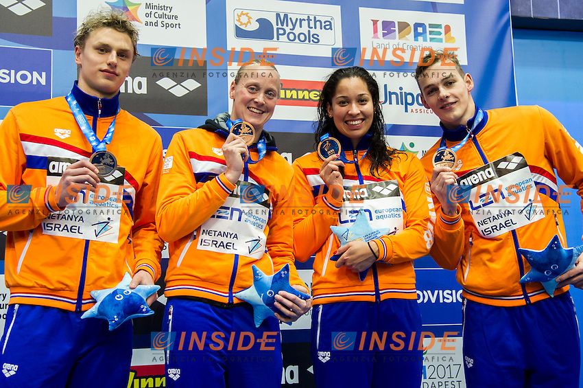 Team Netherlands NED Bronze Medal<br /> 4x50m Freestyle Mixed Final<br /> Netanya, Israel, Wingate Institute<br /> LEN European Short Course Swimming Championships Dec. 2 - 6, 2015 <br /> Netanya 05-12-2015<br /> Nuoto Campionati Europei di nuoto in vasca corta<br /> Photo Giorgio Scala/Deepbluemedia/Insidefoto
