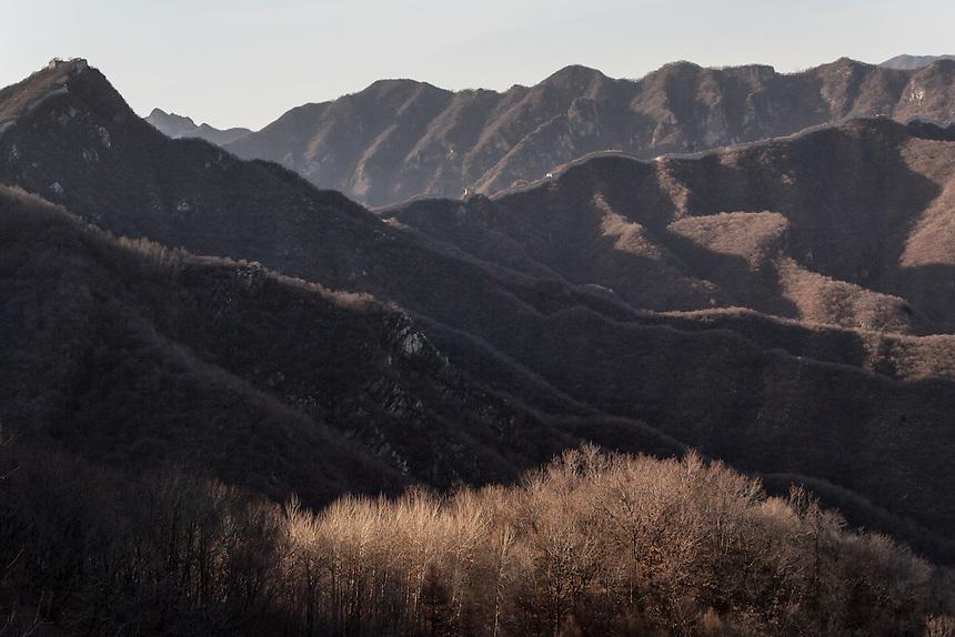 The steep and mountainous terrain around Jiankou Great Wall.