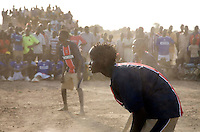 Women's volleyball at the Twic Olympics in Wunrok, Southern Sudan.