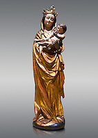 Gothic wooden statue of Madonna and Child from Bohemia, circa 1530-1540, tempera and gold leaf on wood,.  National Museum of Catalan Art, Barcelona, Spain, inv no: MNAC  65506.