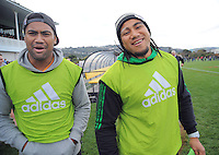 Ories All Blacks Julian Savea and Ma'a Nonu walk out before the Wellington Club Rugby Jubilee Cup final between Tawa and Oriental-Rongotai at Hutt Recreation Ground, Lower Hutt, Wellington, New Zealand on Sunday, 4 August 2013. Photo: Dave Lintott / lintottphoto.co.nz