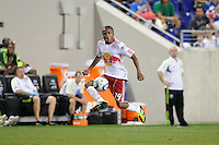 Dane Richards (19) of the New York Red Bulls. The New York Red Bulls defeated the Portland Timbers 2-0 during a Major League Soccer (MLS) match at Red Bull Arena in Harrison, NJ, on September 24, 2011.