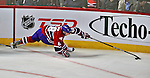 21 September 2009: Montreal Canadiens' defenseman Yannick Weber extends his reach to get to the puck during a pre-season game against the Pittsburgh Penguins at the Bell Centre in Montreal, Quebec, Canada. The Canadiens edged out the defending Stanley Cup Champions 4-3. Mandatory Credit: Ed Wolfstein Photo