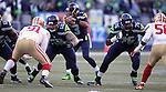 Seattle Seahawks quarterback Russell Wilson (3) surveys the San Francisco 49ers defense at CenturyLink Field in Seattle, Washington on November 22, 2015.  The Seahawks beat the 49ers 29-13.   ©2015. Jim Bryant Photo. All RIghts Reserved.