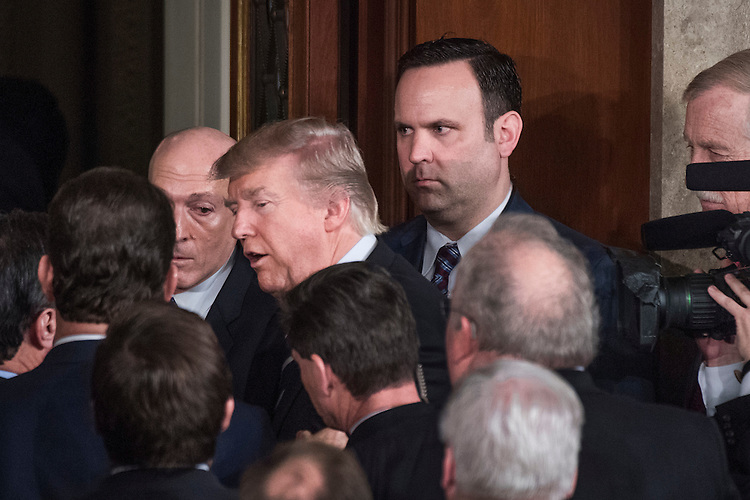 UNITED STATES - FEBRUARY 28: President Donald Trump leaves the Capitol's House Chamber after addressing a joint session of Congress, February 28, 2017. White House aide Dan Scavino, looks on.(Photo By Tom Williams/CQ Roll Call)