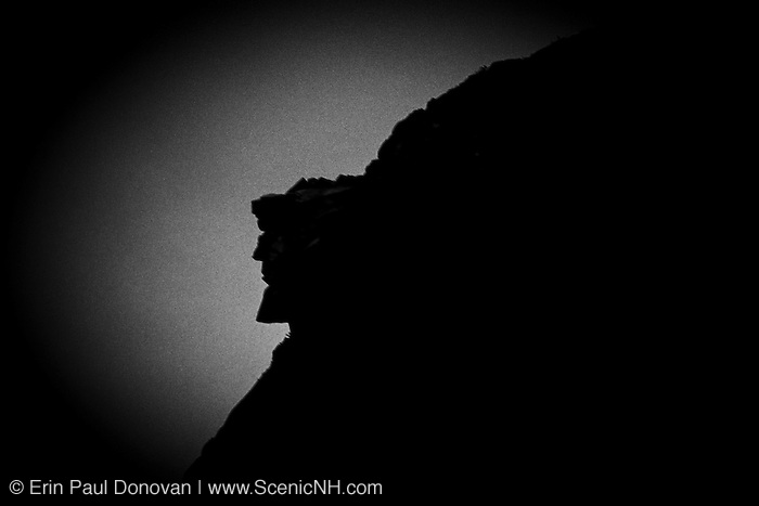 This is a 35 MM slide that has been digitized - Silhouette of the Old Man of the Mountain profile. Discovered in 1805 the Old Man profile was the main attraction of Franconia Notch until it collapsed on May 3, 2003. This profile was on the side of Cannon Mountain in Franconia Notch, New Hampshire USA