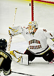 12 November 2010: Boston College Eagle goaltender John Muse, a Senior from East Falmouth, MA, has one ring off the post during action against the University of Vermont Catamounts at Gutterson Fieldhouse in Burlington, Vermont. The Eagles edged out the Cats 3-2 in the first game of their weekend series. Mandatory Credit: Ed Wolfstein Photo