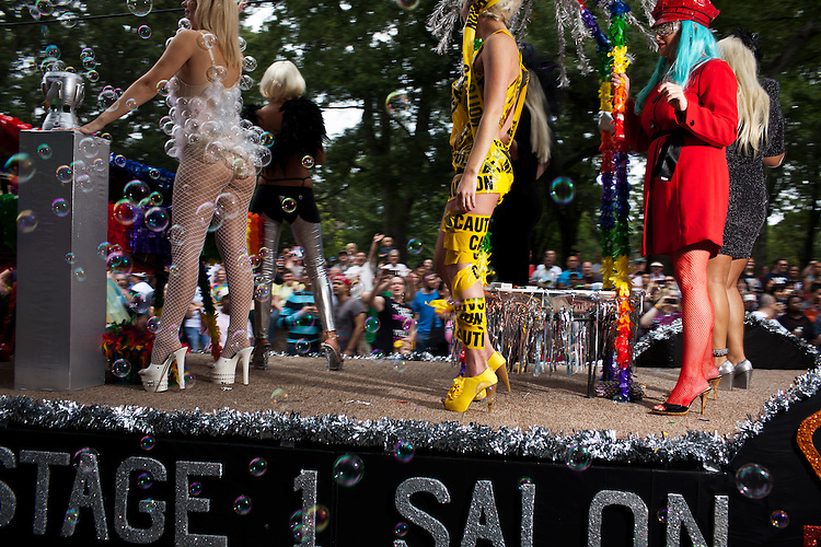 """Stage One Salon fielded six different versions of Lady Gaga for their """"Born This Way"""" float -- the 27th annual N.C. PRIDE parade in Durham, NC, Saturday, September 24, 2011."""