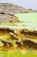 Dallol geothermal area with brine springs, hot springs, and a salt lake,  Ethiopia