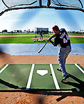 1 March 2010: Washington Nationals' first baseman Adam Dunn takes batting practice during Spring Training at the Carl Barger Baseball Complex in Viera, Florida. Mandatory Credit: Ed Wolfstein Photo