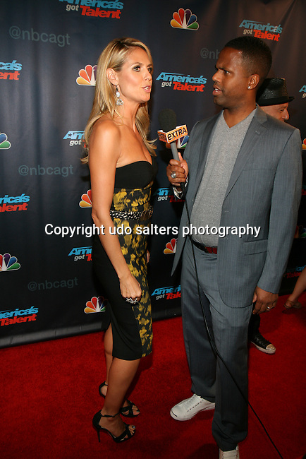 Judge Heidi Klum Being Interviewed by Extra's AJ at America's Got Talent Post Show Red Carpet at Radio City Music Hall, NY