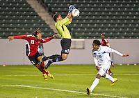 CARSON, CA - March 27, 2012: Jose Mendoza (1) goalie for Honduras during the Honduras vs Trinidad & Tobago match at the Home Depot Center in Carson, California. Final score Honduras 2, Trinidad & Tobago 0.