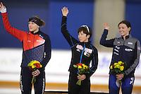 SPEEDSKATING: CALGARY: Olympic Oval, 25-02-2017, ISU World Sprint Championships, Podium 500m Ladies, Karolina Erbanova (CZE), Nao Kodaira (JPN), Heather Bergsma (USA), ©photo Martin de Jong