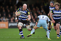 Matt Garvey of Bath Rugby goes on the attack. Aviva Premiership match, between Bath Rugby and Northampton Saints on December 5, 2015 at the Recreation Ground in Bath, England. Photo by: Patrick Khachfe / Onside Images