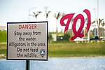 27 February 2017: A sign warms fans outside the new Spring Training facility of the Washington Nationals at the Ballpark of the Palm Beaches in West Palm Beach, Florida. Mandatory Credit: Ed Wolfstein Photo *** RAW (NEF) Image File Available ***