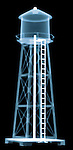 X-ray image of a water tower (blue on black) by Jim Wehtje, specialist in x-ray art and design images.