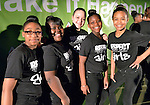 Members of Summer of Sisterhood, a musical group from the Westside Community House in Cleveland, Ohio, pose before performing April 26, 2014, at the United Methodist Women's Assembly in the Kentucky International Convention Center in Louisville, Kentucky.