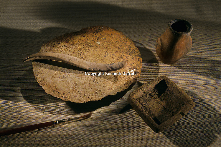Scribes tools, modern paint brush, Artifacts from Aguateca, Maya capital AD 700 -800, Guatemala