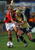Olivia Klei (USA) and Turid Knaak (GER) compete for the ball..FIFA U17 Women's World Cup, Semi Final, Germany v USA, QEII Stadium, Christchurch, New Zealand, Thursday 13 November 2008. Photo: Renee McKay/PHOTOSPORT
