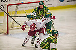 24 November 2013: University of Massachusetts Forward Michael Pereira, a Senior from West Haven, CT, is cross checked by University of Vermont Catamount Defenseman Michael Paliotta, a Junior from Westport, CT, in the third period at Gutterson Fieldhouse in Burlington, Vermont. The Cats shut out the Minutemen 2-0 to sweep the 2-game home-and-away weekend Hockey East Series. Mandatory Credit: Ed Wolfstein Photo *** RAW (NEF) Image File Available ***