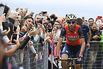 Vincenzo Nibali (ITA) Bahrain-Merida at sign on before the start of Stage 6 of the 100th edition of the Giro d'Italia 2017, running 217km from Reggio Calabria to Terme Luigiane, Italy. 11th May 2017.<br /> Picture: LaPresse/Fabio Ferrari   Cyclefile<br /> <br /> <br /> All photos usage must carry mandatory copyright credit (&copy; Cyclefile   LaPresse/Fabio Ferrari)