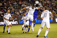 LA Galaxy defender Leonardo and Kansas City Wizard midfielder Kei Kamara battle in the box. The Kansas City Wizards beat the LA Galaxy 2-0 at Home Depot Center stadium in Carson, California on Saturday August 28, 2010.