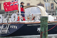 Caro Vita sailed by the all-female crew of Jo Ivory and Steffi Waanders prior to the Wellington restart of Round North Island two-handed yacht race. Wellington, New Zealand. 2 March 2011. Photo: Gareth Cooke/Subzero Images
