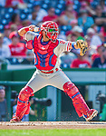 6 September 2014: Philadelphia Phillies catcher Wil Nieves in action against the Washington Nationals at Nationals Park in Washington, DC. The Nationals fell to the Phillies 3-1 in the second game of their 3-game series. Mandatory Credit: Ed Wolfstein Photo *** RAW (NEF) Image File Available ***