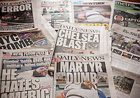 New York City newspapers front pages' over several days cover the arrest of Ahmad Khan Rahami and the bombings on Saturday in the New York and New Jersey area, seen on Monday, September 19, 2016.  (© Richard B. Levine)