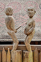 Carved Sexually explicit figures at Giarai (Jarai) Tomb, Vietnamese Museum of Ethnology, Hanoi