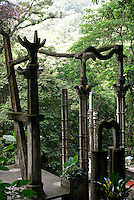Cement columns at Las Pozas, the surrealistic sculpture garden created by Edward James  near Xilitla, Mexico