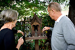 """Vintner Dick Grace and his wife, Ann, of Grace Family Vineyards, visit a buddhist shrine in their backyard, one of their favorite places on their property, which they purchased 33 years ago, on Monday, August 31, 2009. The family has dedicated their life to nonprofit causes throughout Asia, sharing that their wine business is a """"vehicle"""" to support their philanthropic work."""