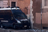 Roma 14 Dicembre 2010.Manifestazione contro il Governo Berlusconi.i manifestanti assaltono i mezzi dei Carabinieri in via degli Astalli