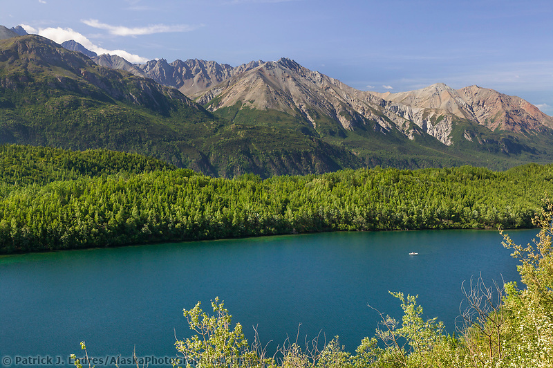 Long lake, along the Glenn Highway, Chugach mountains. Alaska