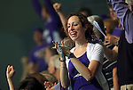 24 MAR 2012:  A Kenyon fan cheers during the Division III Mens and Womens Swimming and Diving Championship held at the IU Natatorium in Indianapolis, IN.  Michael Hickey/NCAA Photos