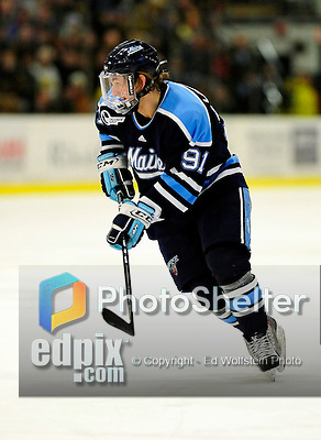 29 January 2010: University of Maine Black Bears' forward Klas Leidermark, a Freshman from Gavle, Sweden, in first period action against the University of Vermont Catamounts at Gutterson Fieldhouse in Burlington, Vermont. The Black Bears defeated the Catamounts 6-3 in the first game of their America East weekend series. Mandatory Credit: Ed Wolfstein Photo