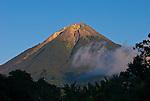 Late afternoon view the active volcano Mount Ebu Lobo, near Bajawa, Flores