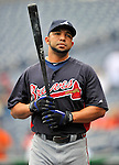 24 September 2011: Atlanta Braves shortstop Alex Gonzalez awaits his turn in the batting cage prior to a game against the Washington Nationals at Nationals Park in Washington, DC. The Nationals defeated the Braves 4-1 to even up their 3-game series. Mandatory Credit: Ed Wolfstein Photo