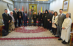 The Rev. Dr. Olav Fykse Tveit, the general secretary of the World Council of Churches, poses with Patriarch Louis Rafael Sako, president of the synod of the Chaldean Catholic Church, along with other members of an ecumenical delegation who visited the Catholic leader in Baghdad, Iraq, on January 21, 2017.