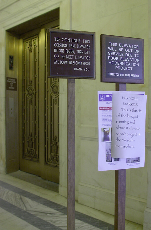 Elevator Repair 1(DG)060500 -- An unauthorized sign appeared on the 2nd floor of the Russell Senate Office Building on the length of the elevator repair..