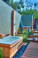 Outdoor, Shower, Bath, Wood Flooring, Bathroom, Open Air, Malibu, California, CA, Landscape, Trees,  Los Angeles California, High dynamic range imaging (HDRI or HDR)