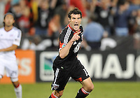D.C. United midfielder Chris Pontius (13) celebrates his score in the 32th minute of the game. D.C. United defeated The New England Revolution 2-1 at RFK Stadium, Saturday September 15, 2012.