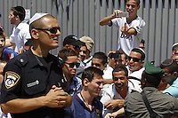FC Barcelona football player LIONEL MESSI react as he arrives with the FC Barcelona team to the Western Wall in Jerusalem's Old City. The star-studded soccer club FC Barcelona landed in Israel yesterday for a two-day visit in the country and in the Palestinian territories. They began their visit in an event in the West bank city of Hebron. Tonight, they will hold an open practice in Jaffa's Bloomfield Stadium, near Tel Aviv. August 04, 2013. Photo by Oren Nahshon