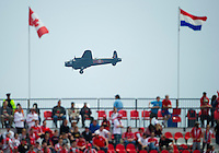A World War airplane passes by BMO Field during an MLS game between the Philadelphia Union and the Toronto FC at BMO Field in Toronto on May 28, 2011..The Philadelphia Union won 6-2..
