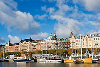 Boats moored along Strandvagen, Ostermalm, Stockholm, Sweden