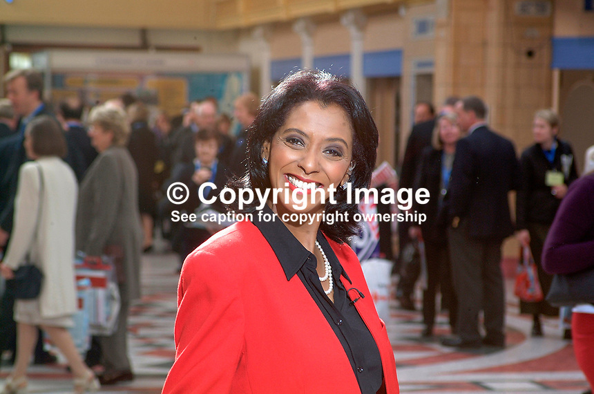 Zeinab Badawi, BBC, television presenter, who specialises in politics. Black. Ref: 200110094115...Copyright Image from Victor Patterson, 54 Dorchester Park, Belfast, UK, BT9 6RJ..Tel: +44 28 9066 1296.Mob: +44 7802 353836.Voicemail +44 20 8816 7153.Skype: victorpattersonbelfast.Email: victorpatterson@mac.com.Email: victorpatterson@ireland.com (back-up)..IMPORTANT: If you wish to use this image or any other of my images please go to www.victorpatterson.com and click on the Terms & Conditions. Then contact me by email or phone with the reference number(s) of the image(s) concerned.