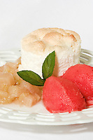 Angle Cake with Rubarb compot and Strawberry Sorbe