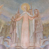 Saint Genevieve (Sainte Geneviève), protecting Paris and France, detail of the monumental fresco of the Northern transept, painted by Leon Toublanc, 20th century, Nanterre Cathedral (Cathédrale Sainte-Geneviève-et-Saint-Maurice de Nanterre), 1924 - 1937, by architects Georges Pradelle and Yves-Marie Froidevaux, Nanterre, Hauts-de-Seine, France. Picture by Manuel Cohen